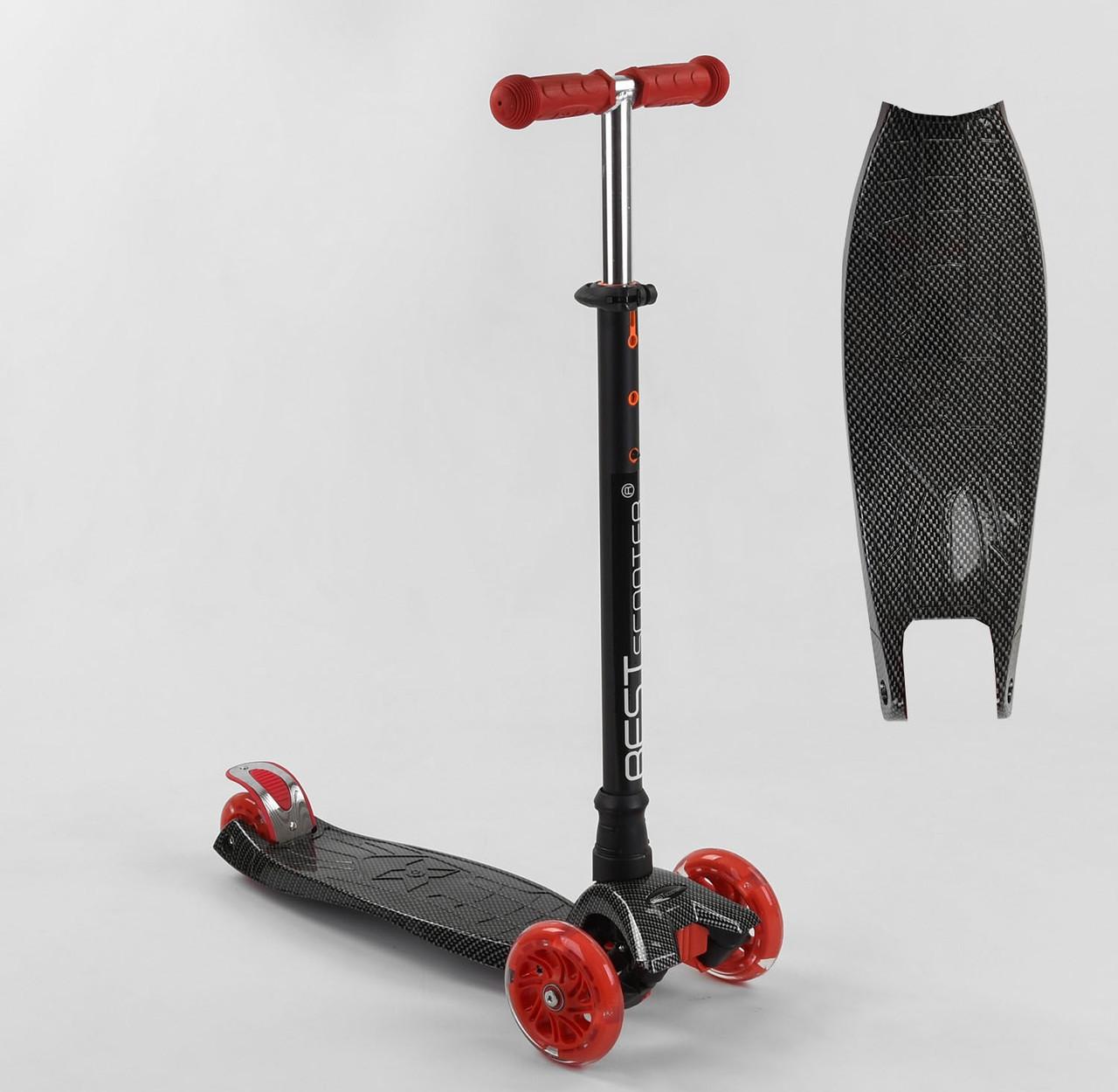 Устойчивый самокат с наклонным поворотом руля Best Scooter A 25772 /779-1524, колеса светятся