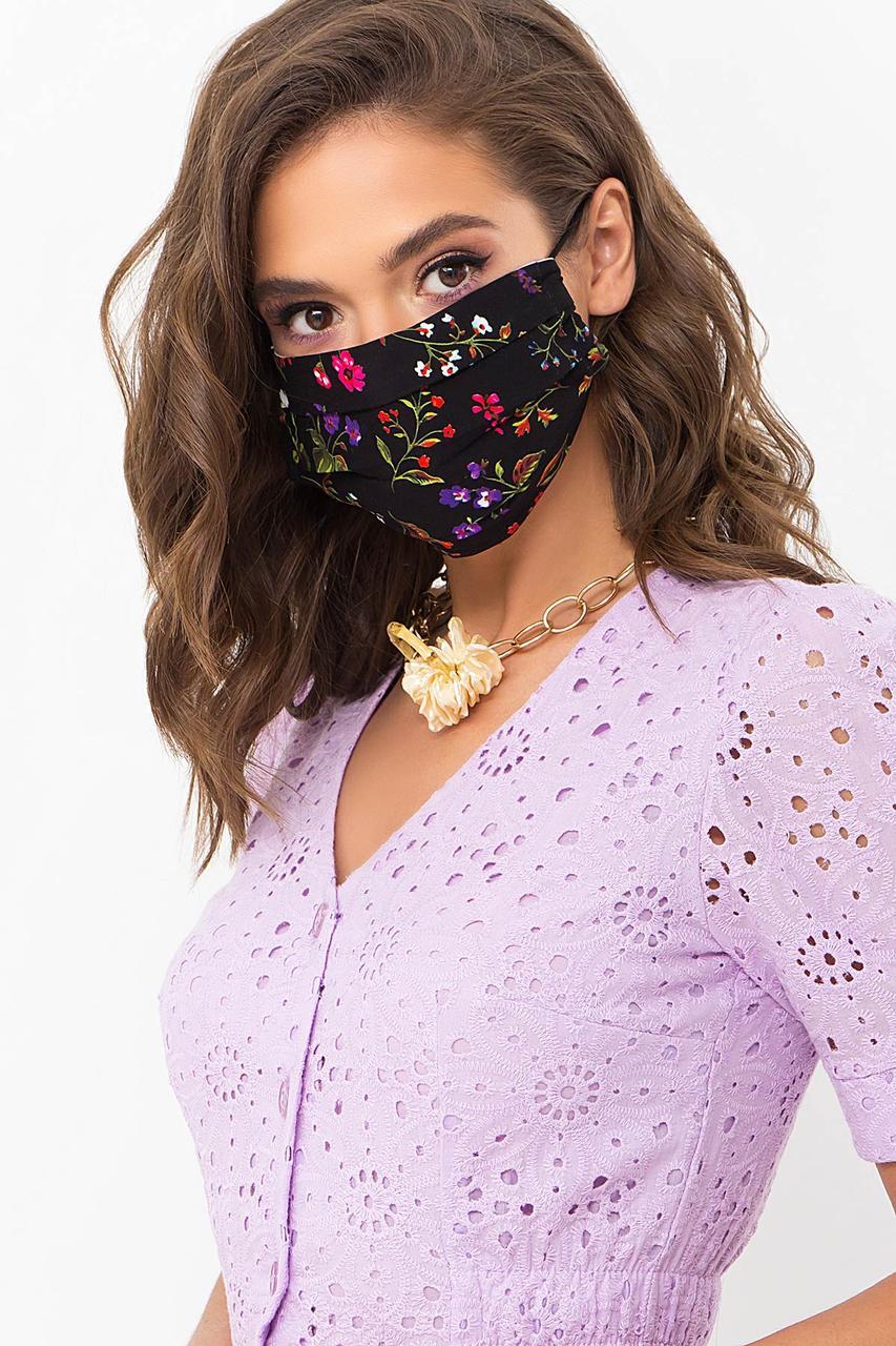 Черная защитная хлопковая маска с цветочным принтом