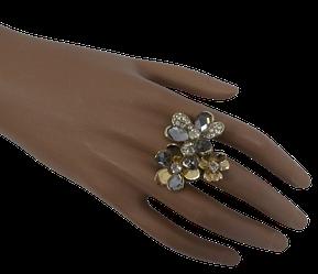 Жіноче кільце з квітами 18 золотистий