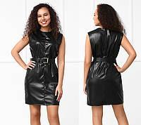 Черное платье из экокожи без рукав, фото 1