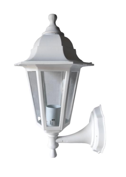 Светильник садовый бра белый пластик Кантри НС06 прозрачное стекло