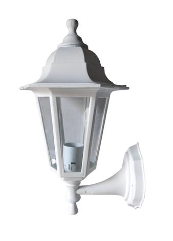Светильник садовый бра белый пластик Кантри НС06 прозрачное стекло, фото 2