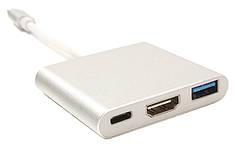 Кабель-переходник PowerPlant USB Type-C - HDMI/USB Multiport Adapter для MacBook 12, 0.15м