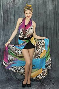 """Сукня """"Лагуна"""" (леопардовий принт/синій/жовтий)"""