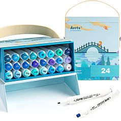 Спиртовые маркеры Arrtx Alp ASM-02BU 24 цвета, синие оттенки