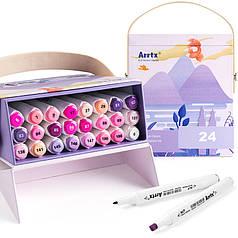 Спиртовые маркеры Arrtx Alp ASM-02PL 24 цвета, фиолетовые оттенки