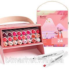 Спиртовые маркеры Arrtx Alp ASM-02RD 24 цвета, красные оттенки