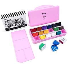 Гуашь Arrtx 18 цветов по 30 мл (AJG-001-18D), розовая коробка