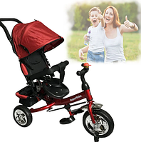 Детский трёхколёсный велосипед 5588 красного цвета с ручкой для родителей звонком и поворотным сиденьем