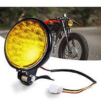 Мото фара головного света 5 дюймов, LED 15 Вт, Cafe Racer, Bobber, Custom, 12 В. желтая