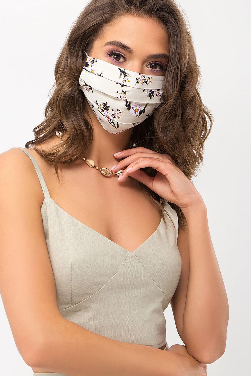 Летняя защитная хлопковая маска с цветочным принтом
