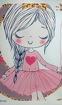 """Виниловые наклейки на стену, шкаф в детскую """"девочка-принцесса на луне со звездами"""" 56см*58см (лист 35*60см), фото 3"""