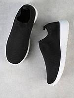 Кроссовки Слипоны Трикотажные черные Shein , размер 37, стелька 23,5