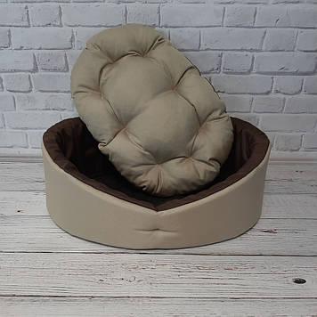 Лежак для собак і котів бежевий з коричневим