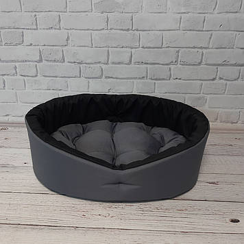 Лежак для собак і котів сірий/чорний