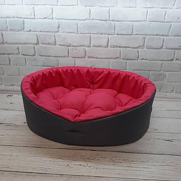 Лежанка для тварин, лежак для собак і котів сірий/рожевий