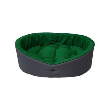 Лежак для тварин, лежанка для собак і котів сірий/зелений