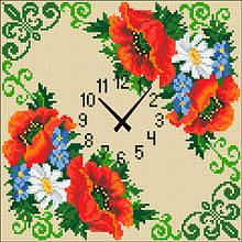АГ-004. Годинник Маки. Алмазна мозаїка 30х30см