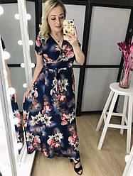 Жіноче літнє батальне сукню на запах в квітка
