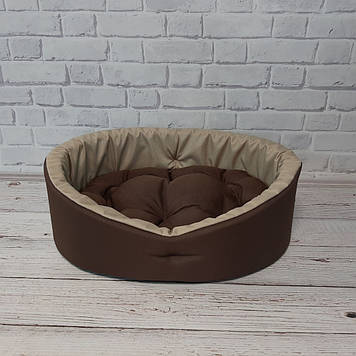 Лежак для котов и собак коричневый с бежевым L