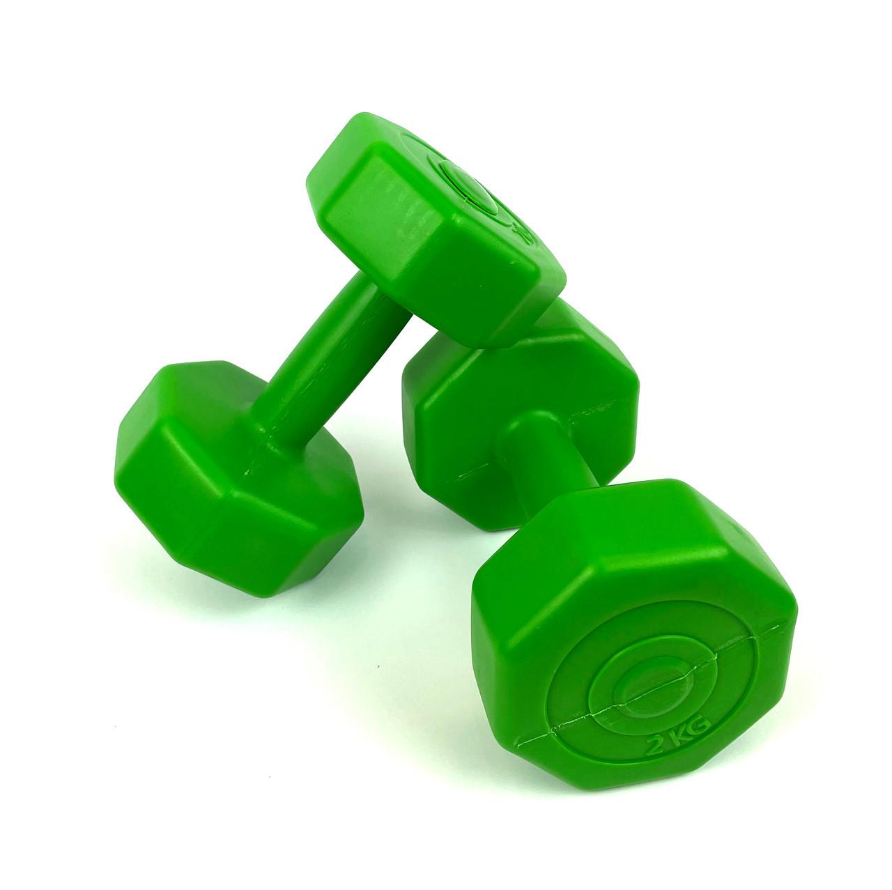 Гантели для фитнеса 2 шт. по 2 кг. , композит с пластиковым покрытием (зеленый)