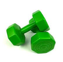Гантелі для фітнесу 2 шт. по 2 кг. , Композит з пластиковим покриттям (зелений), фото 3