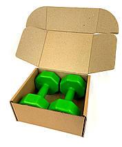 Гантели для фитнеса 2 шт. по 2 кг. , композит с пластиковым покрытием (зеленый), фото 3