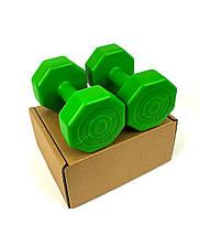 Гантелі для фітнесу 2 шт. по 2 кг. , Композит з пластиковим покриттям (зелений), фото 2