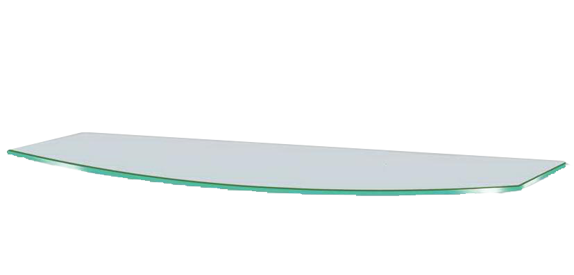 Полочка стеклянная навесная радиусная Commus PL6 RC (180х440х6мм)