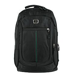 Рюкзак городской универсальный тканевый черный с зеленой полосой