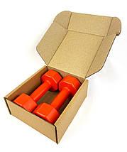 Гантели для фитнеса 2 шт. по 1 кг. , композит с пластиковым покрытием (оранжевый), фото 3