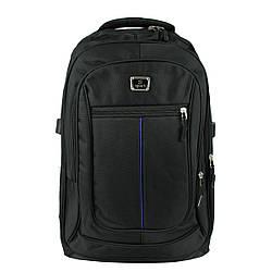 Рюкзак городской  повседневный тканевый черный с синей полосой