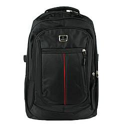 Рюкзак городской универсальный текстильный черный с красной полосой