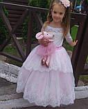 Длинное нарядное платье Ева на 4-6, 6-7, 8-10 лет, фото 2
