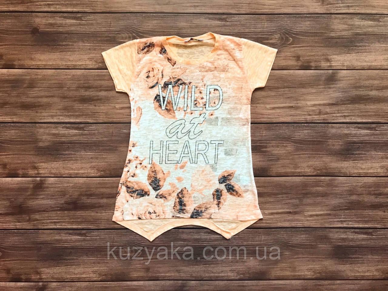 Дитяча футболка-туніка  Квіти для дівчинки на 5-9 років