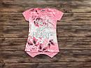 Дитяча футболка-туніка  Квіти для дівчинки на 5-9 років, фото 3