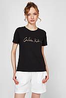 "Футболка жіноча ""Calvin Klein"", кельвін кляйн чорна, фото 1"