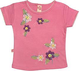Детская футболка с пайетками на девочку рост 92 1,5-2 года для малышей стильная нарядная трикотажная розовая