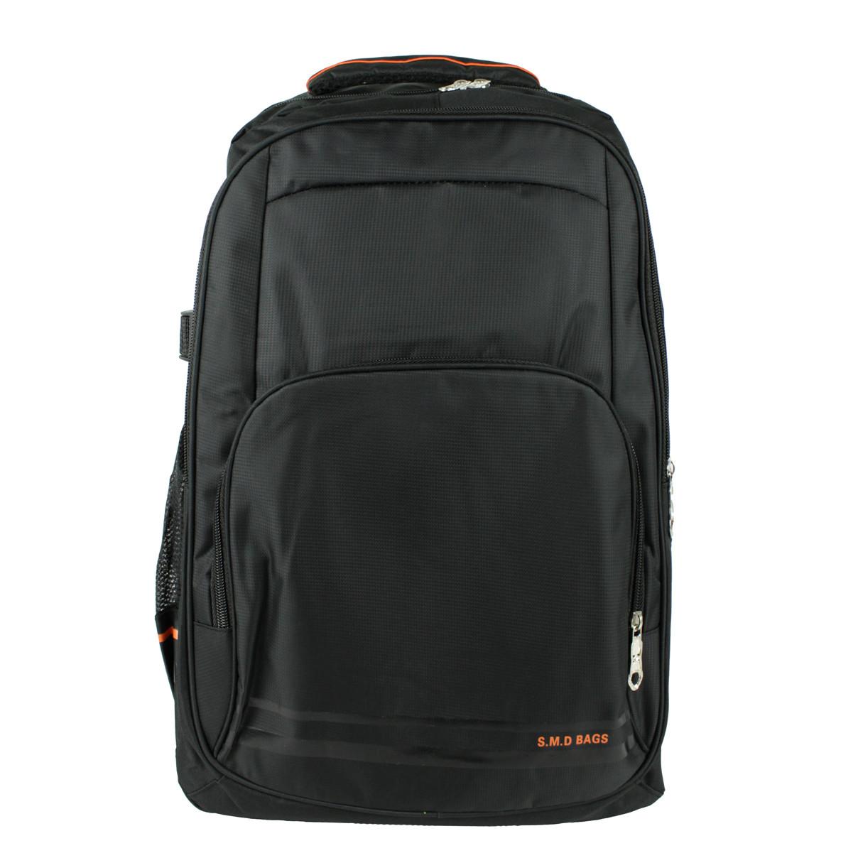 Рюкзак городской универсальный тканевый S.M.D черный-оранжевый