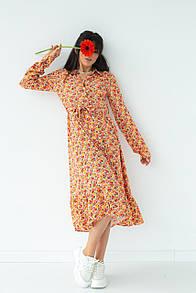 Женское оранжевое платье с пояском в цветочный принт