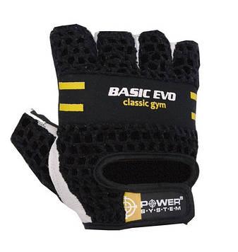 Рукавички для фітнесу і важкої атлетики Power System Basic EVO PS-2100 Black Yellow Line XS
