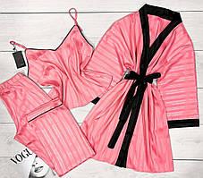 Молодежный комплект тройка в полоску халат+пижама( майка и штаны), домашняя одежда