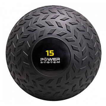 М'яч SlamBall для кросфита і фітнесу Power System PS-4117 15кг рифлений (AS)