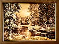 Картина из янтаря на холсте « Зима в лесу » картина з бурштину на холсті Зима в лісі 60x80 см