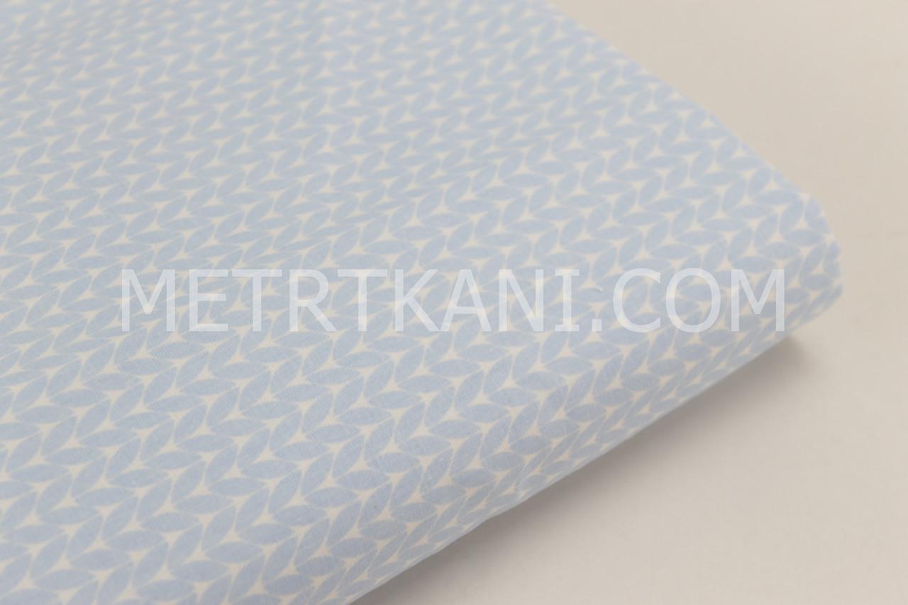 Лоскуток. Хлопковая ткань премиум класса  с косичками голубого цвета 20*160 см