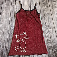 Нічна сорочка для вагітних і годування Кіт, бордо (берізка)
