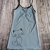 Нічна сорочка для вагітних і годування Кіт, блакитний