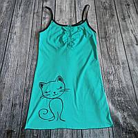 Нічна сорочка для вагітних і годування Кіт, мятна