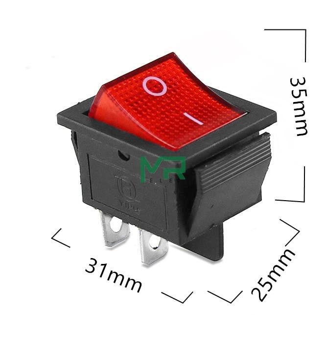 Кнопка - выключатель, двухпозиционный, 250 Вт, 15 А, KCD4 4 контактов,красный