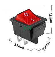 Кнопка - вимикач, двопозиційний, 250 Вт, 15 А, KCD4 4 контактів,червоний